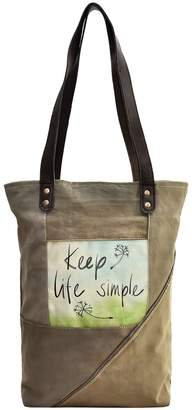 Vintage Addiction Keep Life Simple Recycled Military Tent Tote Bag