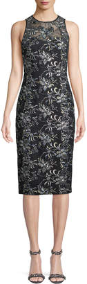 Theia Corded Floral Embroidery Tulle Illusion Dress