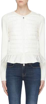 Moncler 'Maglione' down puffer front panel peplum cardigan