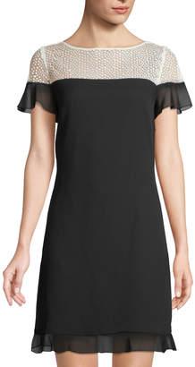 Karl Lagerfeld Paris Lace-Yoke Colorblock Ruffle-Hem Dress