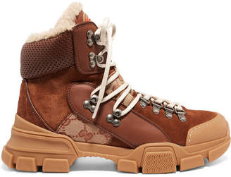 Gucci Flashtrek Faux Shearling-trimmed Suede, Leather And Printed Coated-canvas Boots - Tan