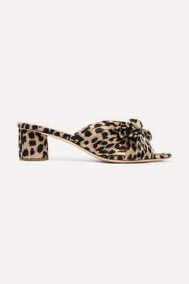 Loeffler Randall Emilia Bow-detailed Leopard-print Plissé-lamé Mules - Leopard print