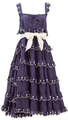 Innika Choo Iva Biigdres Tiered Embroidered Cotton Midi Dress - Womens - Navy