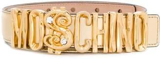 Moschino metallic logo belt
