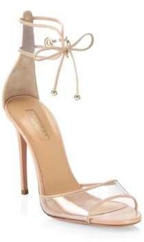 Aquazzura Optic Pink Leather Sandals