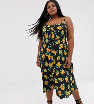 PrettyLittleThing Plus Plus midi dress with tie front in fruit print