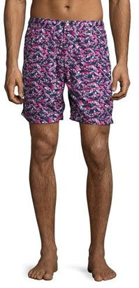 Peter Millar Koi Pond Swim Trunks, Navy/Pink $168 thestylecure.com