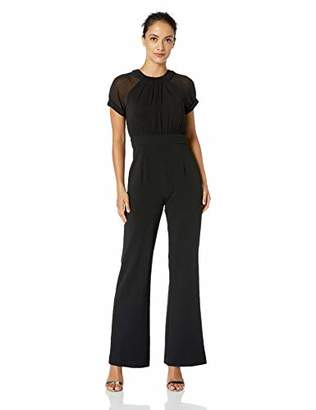Vince Camuto Women's Petite Crepe Jumpsuit with Chiffon Short Sleeves