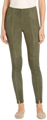 St. John Stretch Suede Leather Cropped Elasticized Waist Legging
