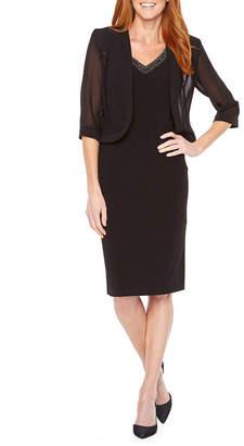 MAYA BROOKE Maya Brooke 3/4 Sleeve Beaded Jacket Dress