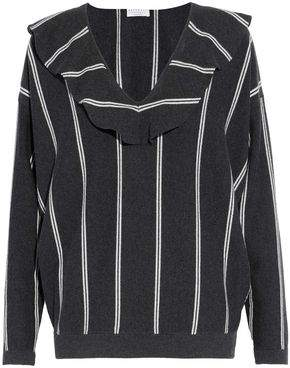 Brunello Cucinelli Ruffled Striped Wool Cashmere And Silk-Blend Sweater