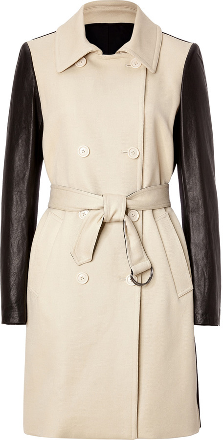 DKNY Wool/Leather Coat in Stone