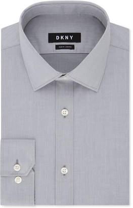 DKNY Men's Slim-Fit Stretch Gray Solid Dress Shirt