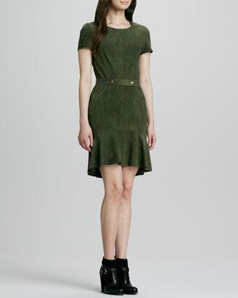 Rachel Zoe Suede Flounce Dress