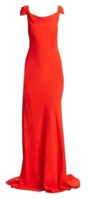Oscar de la Renta Cowl Cap Sleeve Gown