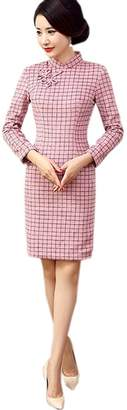 YueLian Women's Chinese Traditional Wool Lattice Short Dress Qipao