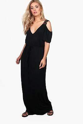 boohoo NEW Womens Plus Crochet Lace Open Shoulder Maxi Dress in Viscose