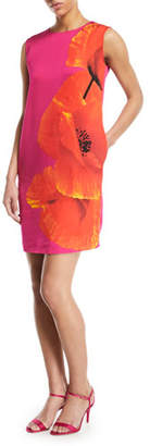 Escada Sport Sleeveless Orchid-Print Shift Dress