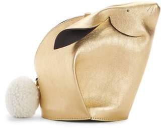 Loewe Mini Bunny Metallic Leather Crossbody Bag with Genuine Shearling Trim