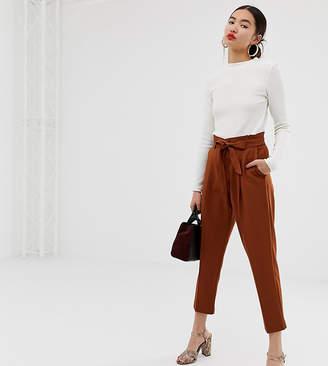 New Look tie waist tapered pants in rust