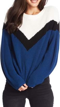 1 STATE 1.State Chevron Front Crewneck Cotton Sweater