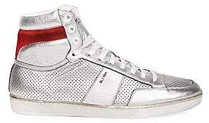 Saint Laurent Men's Perforated Metallic Leather High-Top Sneakers