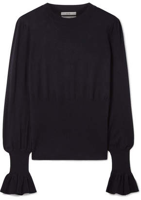 Co Ruffled Silk And Cashmere-blend Sweater - Midnight blue