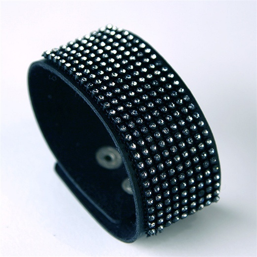 Ccc Leather Cuff With Rhinestones
