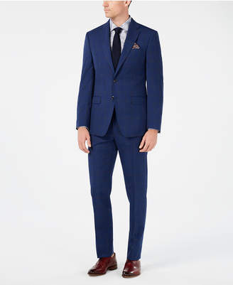 Tallia Men Slim-Fit Navy Windowpane Suit