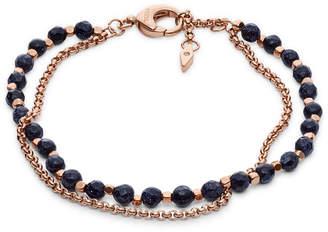 Fossil Shimmer Glass Stone Double Chain Bracelet