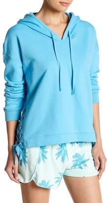 Free Press Grommet Lace-Up Pullover Hoodie