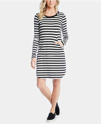 Karen Kane Striped Long-Sleeve T-Shirt Dress