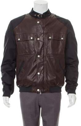 Gucci Leather-Accented Zip-Up Jacket