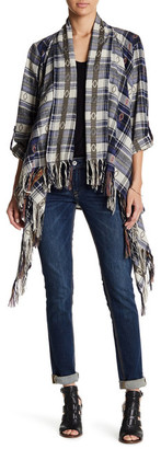 En Creme Plaid Fringe Cape Shirt $56 thestylecure.com