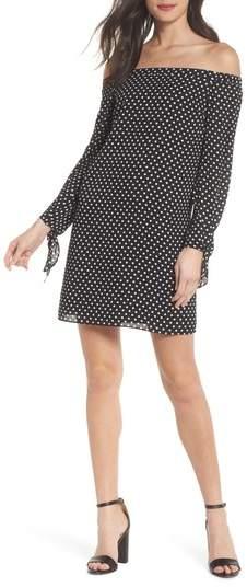 Polka Dot Off the Shoulder Minidress