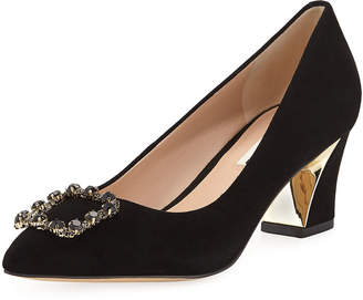 Karl Lagerfeld Paris Ainsley Low-Heel Suede Pumps with Brooch Embellishment