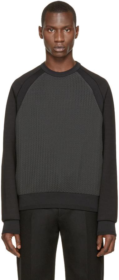 Juun.J Black & Grey Chevron Pullover