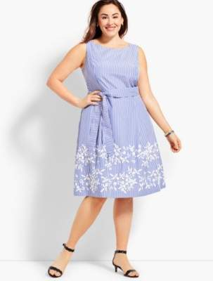 Talbots Embroidered Fit & Flare Dress