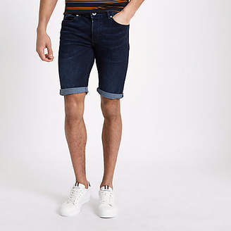 River Island Dark blue skinny fit denim shorts
