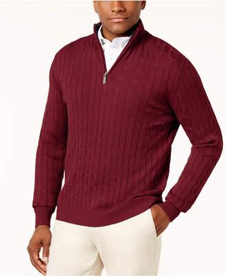 Club Room Men's Cable Quarter-Zip Pima Cotton Sweater