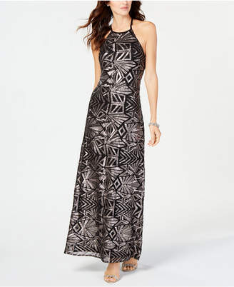Night Way Nightway Sequined Mesh Gown