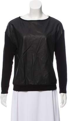 Alice + Olivia Leather-Accented Long Sleeve Top