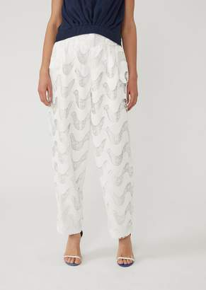 Emporio Armani Macrame Lace Trousers With Darts And Wave Pattern