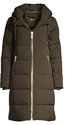 Donna Karan Women's Tech Taffeta Zip-Front Quilted Coat