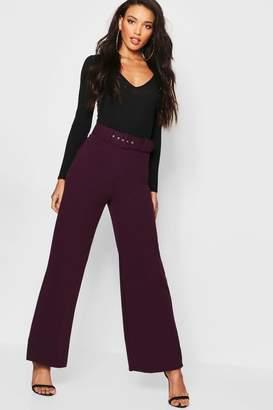 boohoo Self Belt Wide Leg Trouser