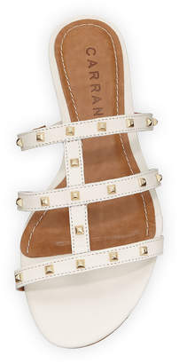 Joelle Gagnard Carrano Leather Studded Sandals, Latte