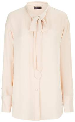 Theory Weekender Tie Neck Blouse