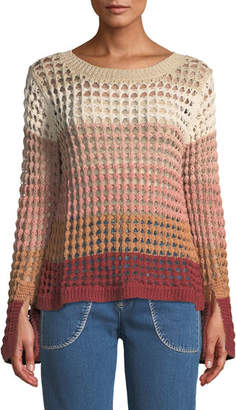 See by Chloe Crewneck Multicolor Open-Knit Sweater