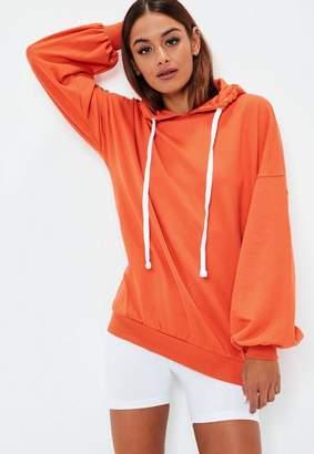 Missguided Orange Oversized Puff Sleeve Hoodie