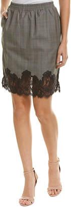 Gold Hawk Lace-Trim Wool-Blend Skirt